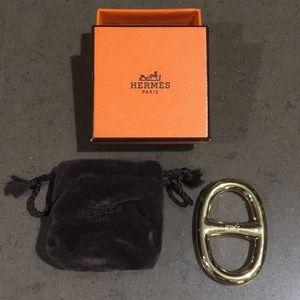 Hermès scarf ring gold color